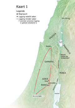 Kaart met plekke wat met Jesus se lewe verband hou: Betlehem, Nasaret, Jerusalem