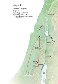 Mapa míst spojených s Ježíšovým životem: Betlém, Nazaret, Jeruzalém