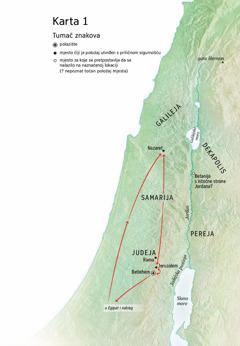 Karta na kojoj su naznačeni Betlehem, Nazaret, Jeruzalem i druga mjesta u kojima je Isus boravio