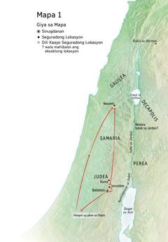 Mapa sa mga lokasyon nga konektado sa kinabuhi ni Jesus: Betlehem, Nasaret, Jerusalem