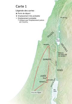 Carte indiquant des lieux associés à la vie de Jésus: Bethléem, Nazareth, Jérusalem