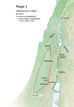Mape ni so na vanua a tiko voli kina o Jisu: Peceliema, Nasareci, Jerusalemi