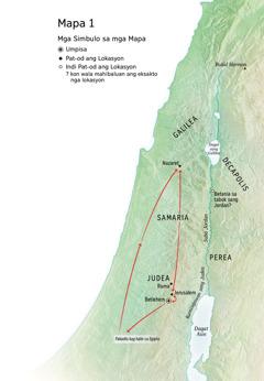 Mapa sang mga lokasyon may kaangtanan sa kabuhi ni Jesus: Betlehem, Nazaret, Jerusalem