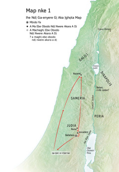 Map gosiri ebe dị iche iche Jizọs nọrọ: Betlehem, Nazaret, Jeruselem