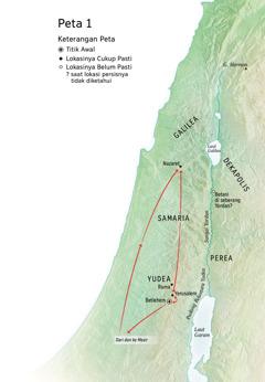 Peta lokasi yang berhubungan dengan pelayanan Yesus: Betlehem, Nazaret, Yerusalem
