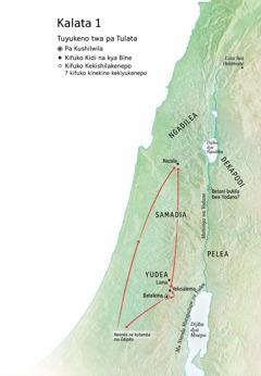 Map of locations related to Jesus' life: Bethlehem, Nazareth, Jerusalem