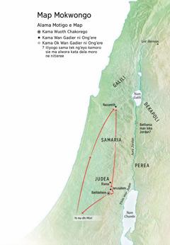 Map ma nyiso mier ma ndalo Yesu moriwo nyaka Aora Jordan kod Judea