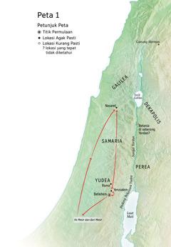 Peta mengenai kehidupan Yesus: Betlehem, Nasaret, Yerusalem