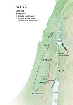 Kaart met plaatsen uit Jezus' leven: Bethlehem, Nazareth en Jeruzalem