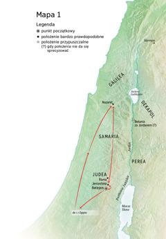 Mapa zmiejscami związanymi zżyciem Jezusa: Betlejem, Nazaret, Jerozolima