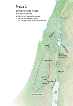 Mapa de lugares relacionados con la vida de Jesús: Belén, Nazaret, Jerusalén
