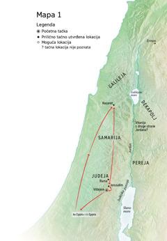 Mapa na kojoj su naznačena mesta u kojima je Isus boravio: Vitlejem, Nazaret i Jerusalim