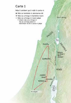 Carte ni afa ando so Jésus aduta dä: Bethléhem, Nazareth, Jérusalem