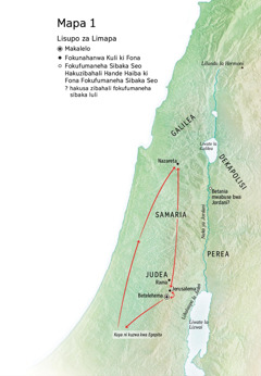 Map of locations related to Jesus' life: Bethlehem, Nazareth, Jerusalem