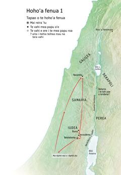 Te mau vahi i nia i te hoho'a fenua e faaite ra i te oraraa o Iesu: Betelehema, Nazareta, Ierusalema