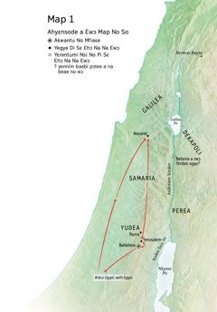 Map a ɛkyerɛ mmeae a edi akoten wɔ Yesu asetena mu: Betlehem, Nasaret, Yerusalem