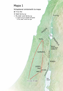 Mapa ti chak' ta ilel bu kuxi li Jesuse: Belen, Nasaret xchi'uk Jerusalen