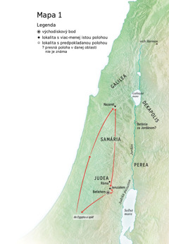 Mapa oblasti, kde žil Ježiš: Betlehem, Nazaret, Jeruzalem.