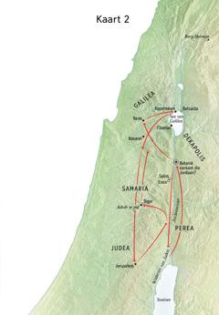 Kaart met plekke wat Jesus besoek het, insluitende die Jordaanrivier en Judea
