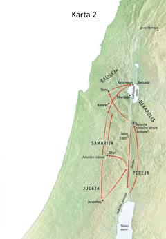 Karta na kojoj su naznačena mjesta u kojima je Isus boravio