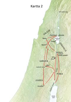 Kartassa Jeesuksen elämään liittyviä paikkoja: Jordan, Juudea