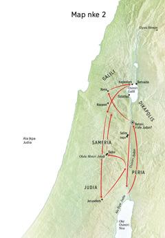 Map gosiri ebe dị iche iche Jizọs nọrọ, ma Osimiri Jọdan ma Judia