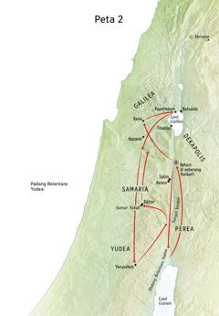 Peta lokasi yang berhubungan dengan kehidupan Yesus termasuk Sungai Yordan dan Yudea