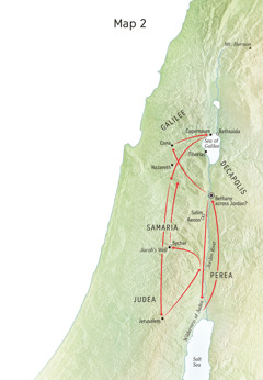 Map of locations in Jesus' life including the Jordan River and Judea