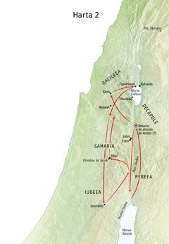 Hartă cu locuri în care a fost Isus, cum ar fi râul Iordan și Iudeea