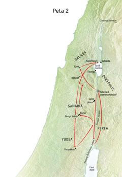 Peta mengenai kehidupan Yesus termasuk Sungai Yordan dan Yudea