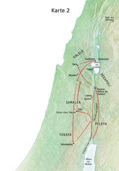 Karte ka miaba ivua Yezu mupitshile kusangisha ne musulu wa Yadene ne Yudaya