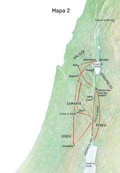 Mapa yebonisa libaka zanaafitile ku zona Jesu zecwale ka Nuka ya Jordani ni Judea