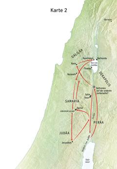 Eine Karte mit Orten aus dem Leben Jesu inklusive Judäa und Jordan