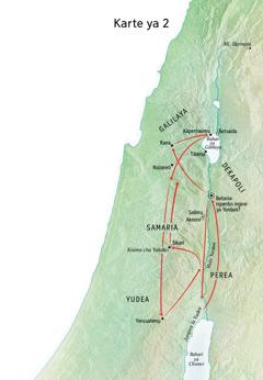 Karte ya maeneo wakati wa maisha ya Yesu kutia ndani Muto Yordani na eneo la Yudea