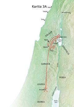 Kartassa Jeesuksen palvelukseen liittyviä paikkoja: Galilea, Kapernaum, Kaana