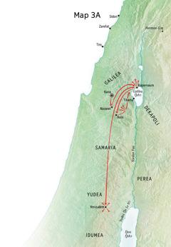 Map ni miitsɔɔ hei ni Yesu shiɛ yɛ, yɛ Galilea kɛ Kapernaum kɛ Kana