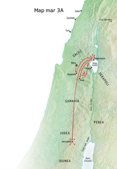 Map ma nyiso gik ma Yesu notimo Galili, Kapernaum, Kana