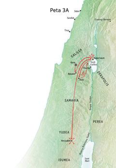 Peta tentang kerja penyebaran Yesus di Galilea, Kapernaum, Kana