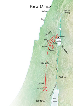 Karte ka mudimu uvua Yezu muenze mu Galela, mu Kapênuma, mu Kana