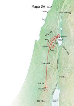 Mapa yebonisa libaka zanaafitile ku zona Jesu mwa bukombwa bwahae mwa Galilea, Kapernauma, Kana