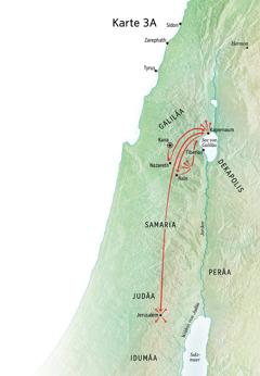 Karte zu Jesu Dienst in Galiläa, Kapernaum, Kana
