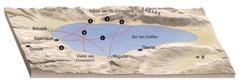 Kaart met plekke wat met Jesus se bediening by die See van Galilea verband hou