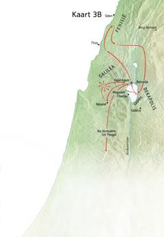 Kaart met plekke wat met Jesus se bediening in die omgewing van Galilea, Fenisië en Dekapolis verband hou