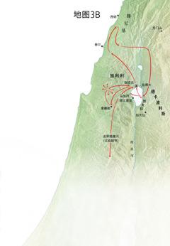 标明耶稣在加利利、腓尼基和德卡波利斯一带执行传道职务的地图