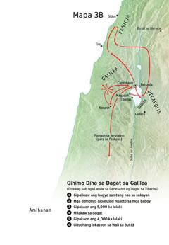 Mapa sa mga lokasyon nga konektado sa ministeryo ni Jesus sa palibot sa Galilea, Fenicia, ug Decapolis