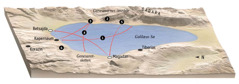 Kort over steder der havde relation til Jesus' tjeneste i området omkring Galilæas Sø