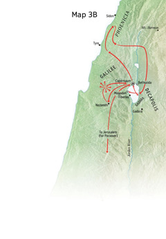 Map of locations related to Jesus' ministry around Galilee, Phoenicia, and Decapolis