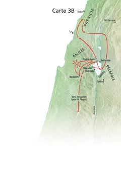 Carte indiquant des lieux associés au ministère de Jésus aux alentours de la Galilée, de la Phénicie et de la Décapole
