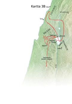 Kartassa Jeesuksen palvelukseen liittyviä paikkoja Galileassa, Foinikiassa, Dekapoliissa