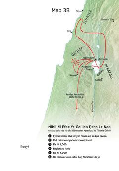 Map ni miitsɔɔ hei ni Yesu shiɛ yɛ, yɛ Galilea kɛ Foinike kɛ Dekapoli